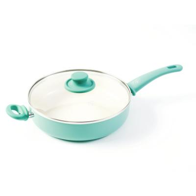 Soft Grip 5 qt. Aluminum Ceramic Nonstick Saute Pan in Turquoise with Glass Lid