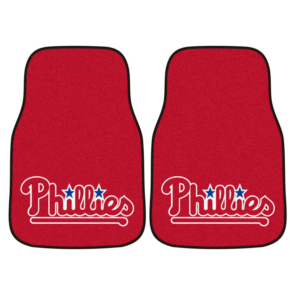 FANMATS Philadelphia Phillies 18 in. x 27 in. 2-Piece Carpeted Car Mat Set