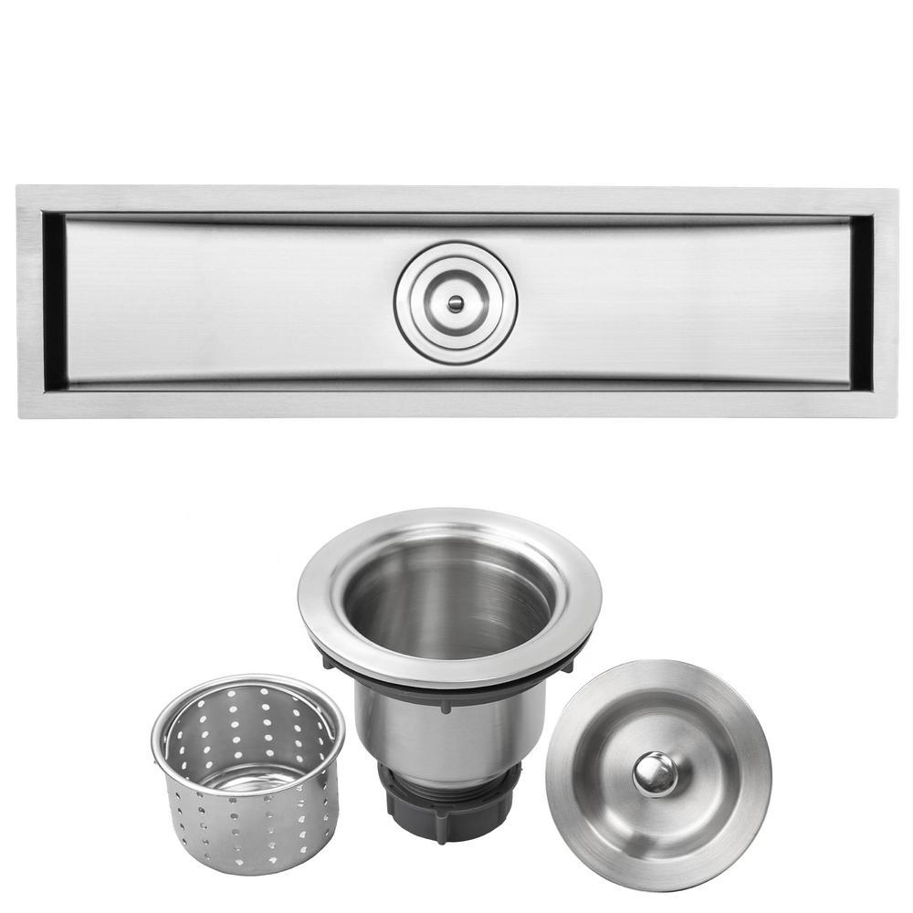 Bradford Undermount 16-Gauge Stainless Steel 31.5 in. Single Basin Kitchen and Bar Sink with Basket Strainer