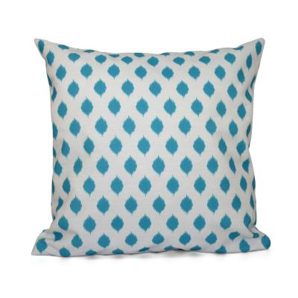 Cop-Ikat Turquoise Geometric 16 in. x 16 in. Throw Pillow