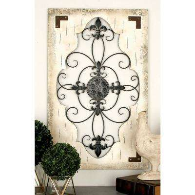 26 in. x 42 in. French-Inspired Ivory Iron and Wood Fleur de Lis and Medallion Wall Panel