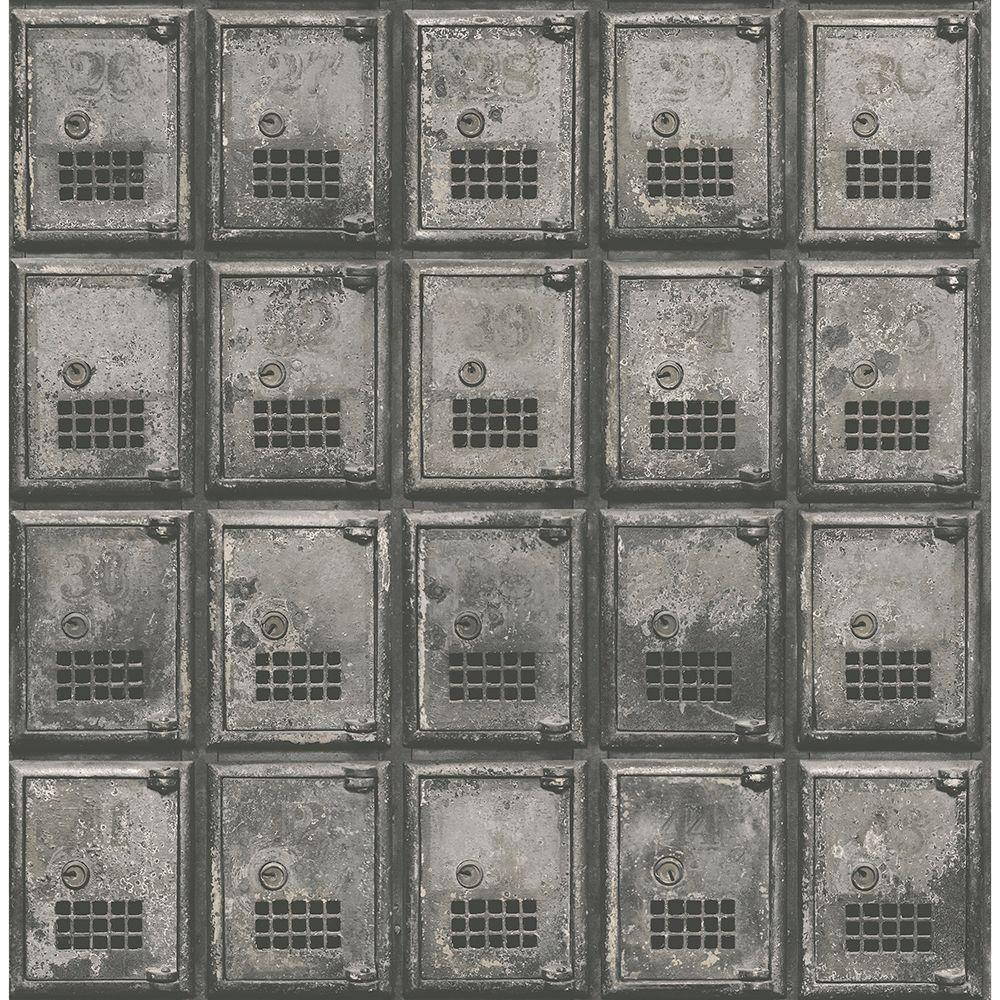 Brewster Charcoal Vintage P.O. Boxes Distressed Metal Wallpaper Sample