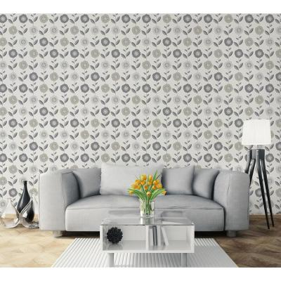 56.4 sq. ft. Helsinki Silver Flowers Wallpaper