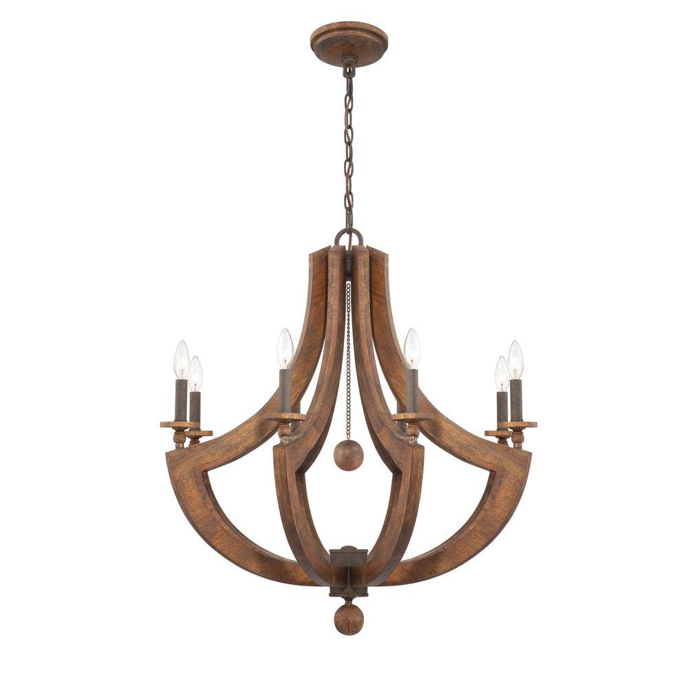 Eurofase Lenio Collection 8-Light Burnished Iron Wood Chandelier-DISCONTINUED