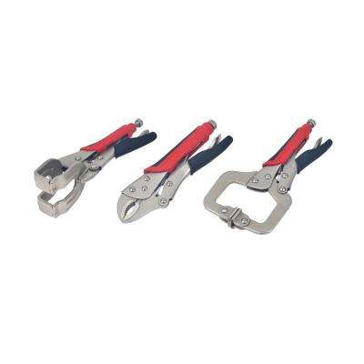 Welding Tool Set, Welding Clamp, C-Locking Pliers and Curved Jaw Locking Pliers (3-Piece Set)