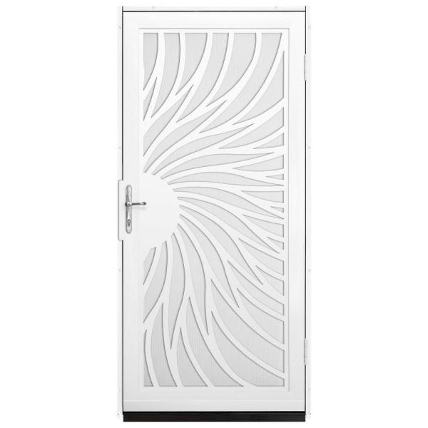 36 in. x 80 in. Solstice White Surface Mount Steel Security Door with White Perforated Screen and Nickel Hardware