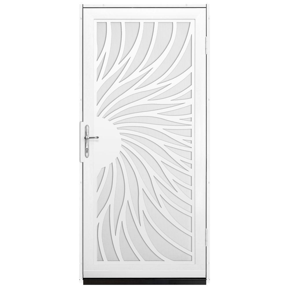 Unique Home Designs 36 in. x 80 in. Solstice White Surface Mount Steel Security Door with White Perforated Screen and Brass Hardware