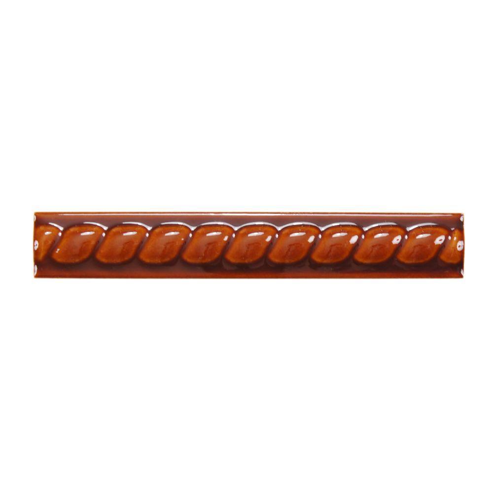 Merola Tile Gaya Cordones Melado 1-1/4 in. x 8 in. Ceramic Wall Trim Tile