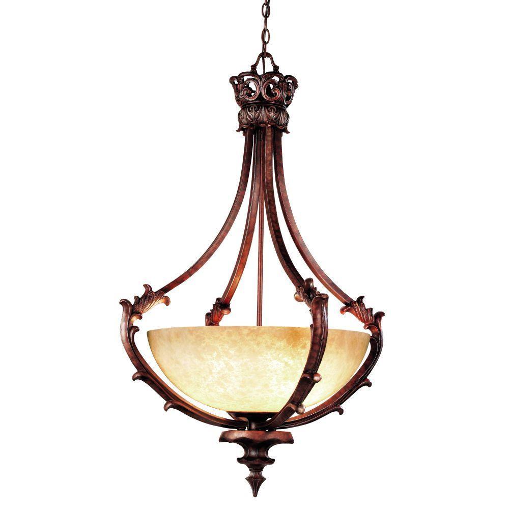 Eurofase Tiverton Collection 3-Light Antique Rust Hanging Bowl Pendant
