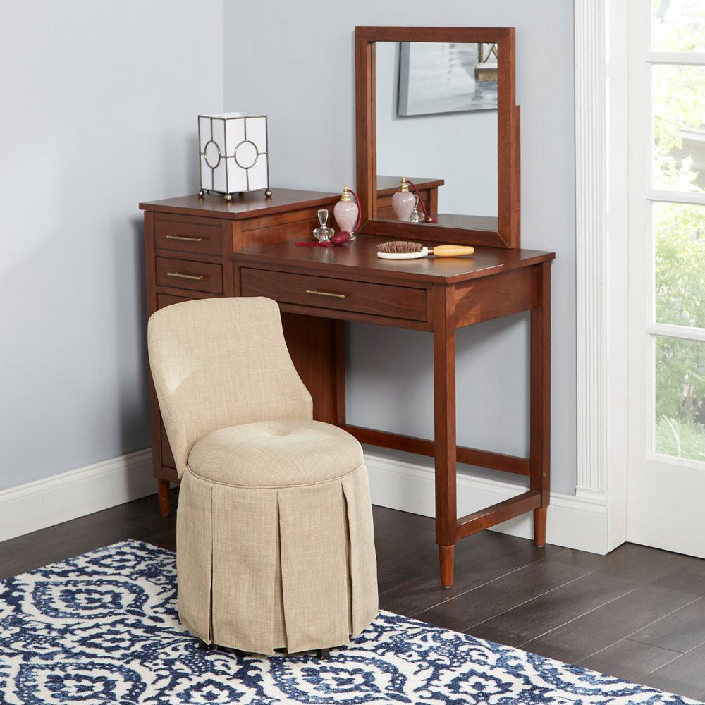 Sullivan Beige Skirted Swivel Vanity Chair with Back