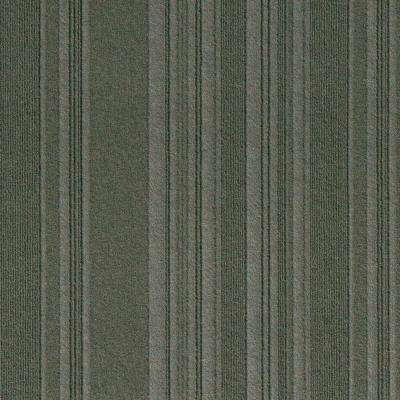 Premium Self-Stick First Impressions Barcode Rib Olive Texture 24 in. x 24 in. Carpet Tile (15 Tiles/60 sq. ft./case)
