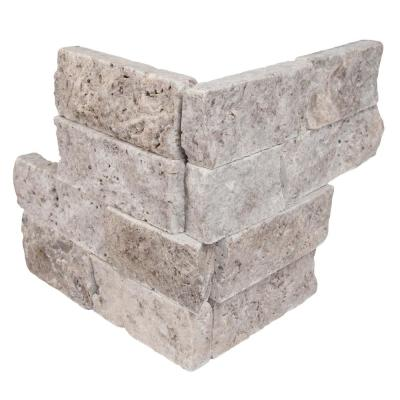 Trevi Gray Ledger Corner 6 in. x 6 in. x 6 in. Natural Travertine Wall Tile (2.5 sq. ft./Case)