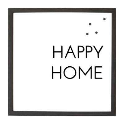 16X16 Happy Home w/Raised Letters Magnet Board, EBONY FRAME, Magnetic Memo Board