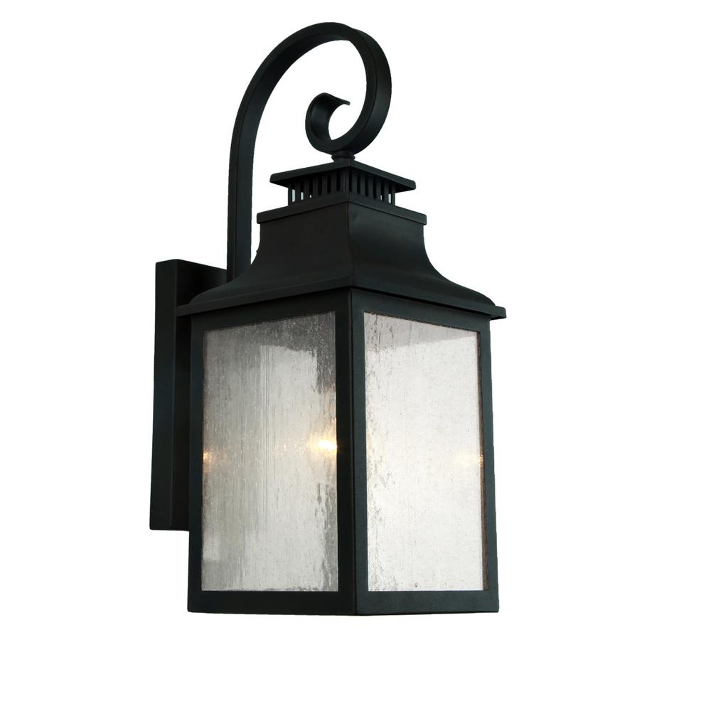Y decor morgan 1 light imperial black outdoor wall mount lantern el2282ib the home depot for Exterior wall mounted lanterns