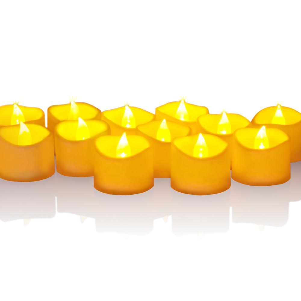 12 Red Flameless Votive Christmas Candles Battery Flickering LED Tea Light