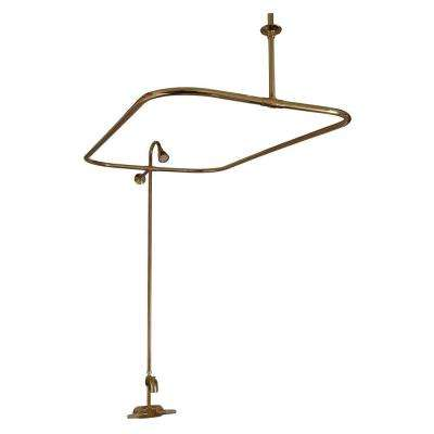 Plastic Lever 2-Handle Claw Foot Tub Faucet with Riser Showerhead and 48 in. Rectangular Shower Unit in Polished Brass
