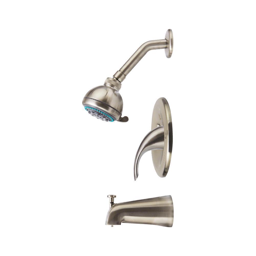 2-Spray 3.3 in. Single Wall Mount Fixed Shower Head in Brushed Nickel