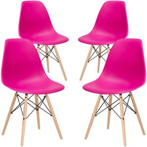 Vortex Fuchsia Side Chair with Natural Legs (Set of 4)