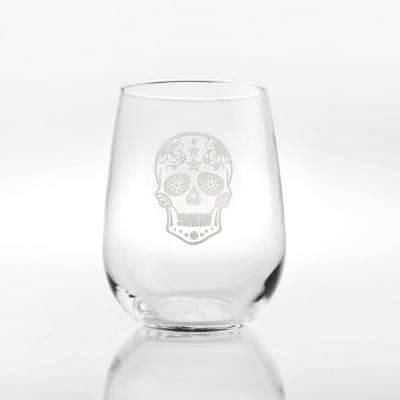 Sugar Skull 17 oz. Stemless Wine Tumbler (Set of 4)