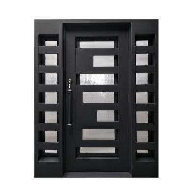 62 in. x 81 in. Matte Black Right-Hand Inswing with Mini Lite Clear Double-Glazed Glass Iron Prehung Front Door