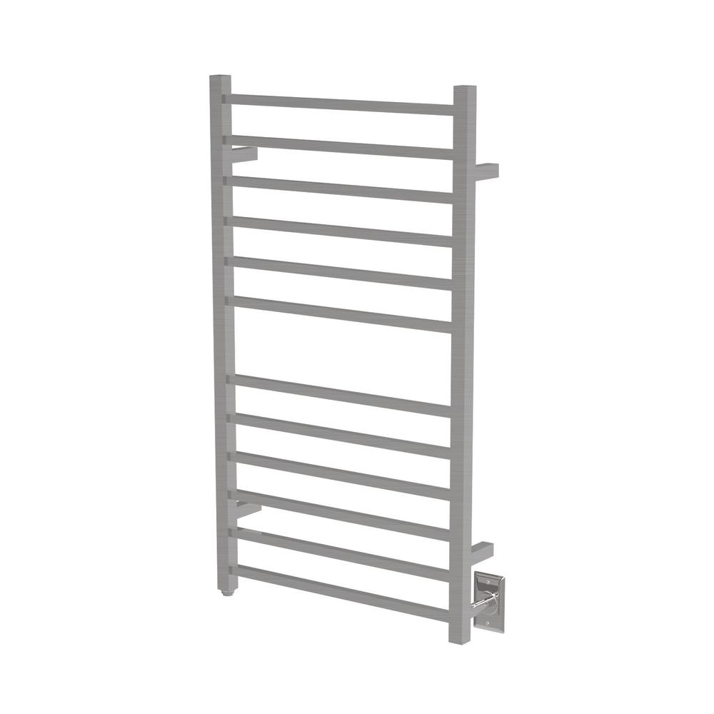 Radiant Square Large 12-Bar Electric Towel Warmer in Brushed Stainless Steel