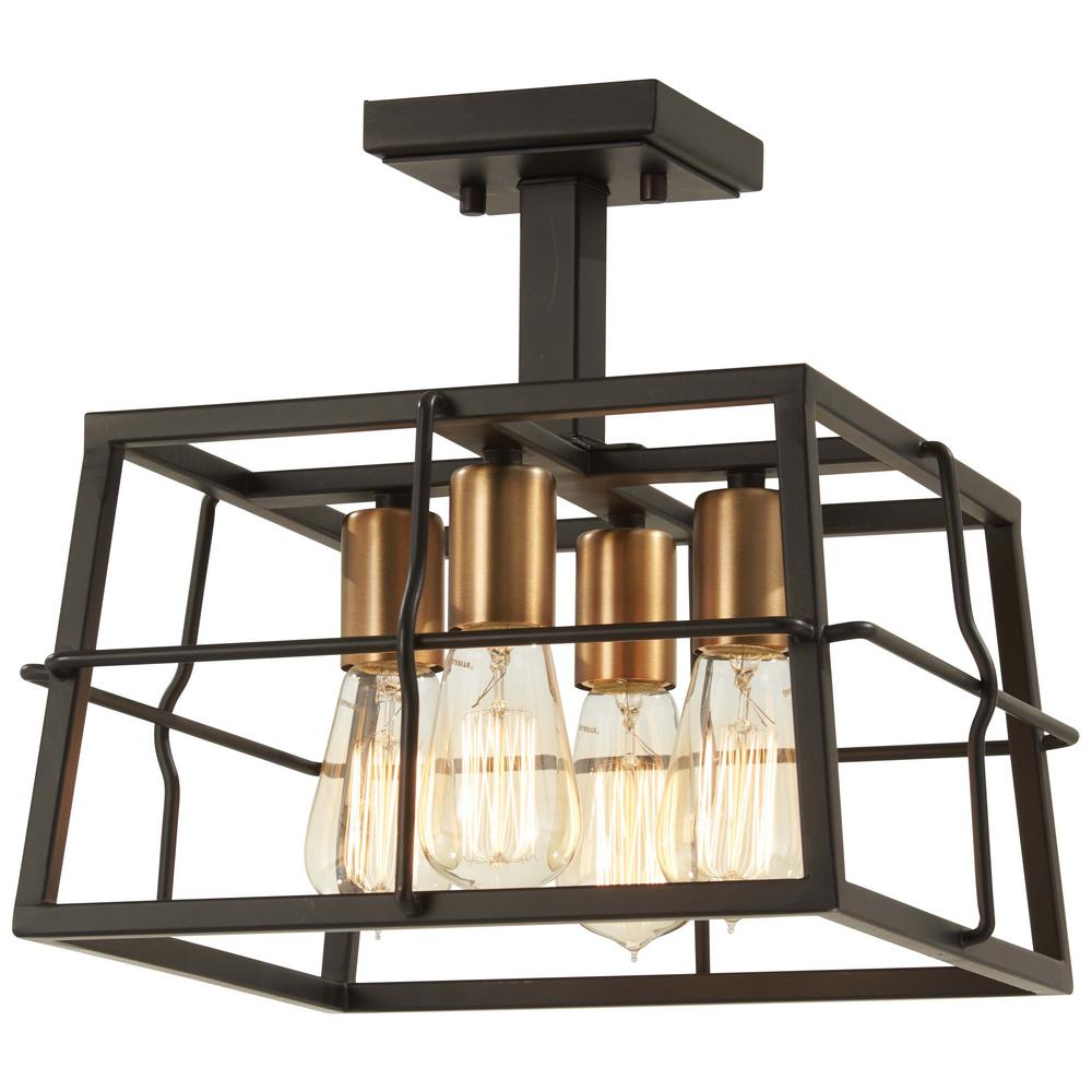 Minka Lavery Kelley Calle 4-Light Painted Bronze with Natural Brushed Brass Semi-Flush Mount