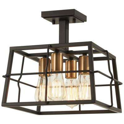 Kelley Calle 4-Light Painted Bronze with Natural Brushed Brass Semi-Flush Mount