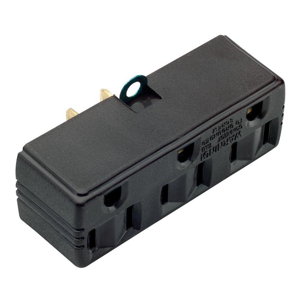 15 Amp 125-Volt Triple Tap Adapter - Brown