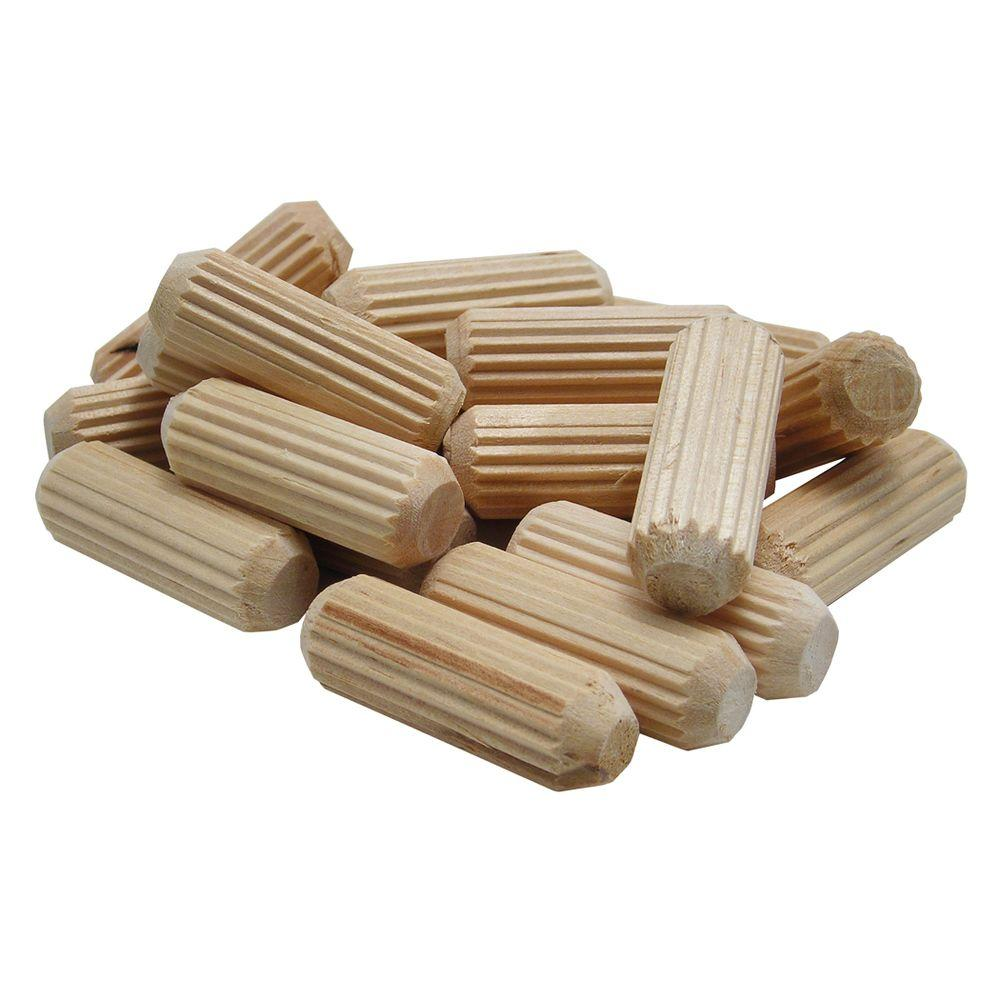 1.5 in. x 5/16 in. Wooden Round Fluted Dowel Pins (50-Pack)