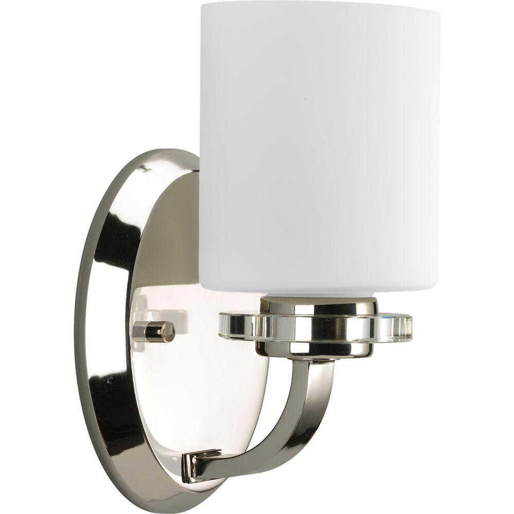 Progress Lighting Nisse Collection 1-Light Polished Nickel Bath Sconce with Opal Etched Glass Shade