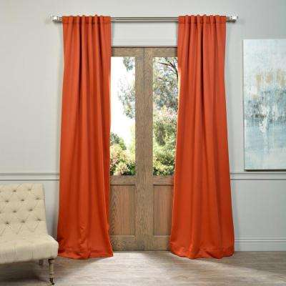 Semi-Opaque Blaze Orange Blackout Curtain - 50 in. W x 96 in. L (Panel)