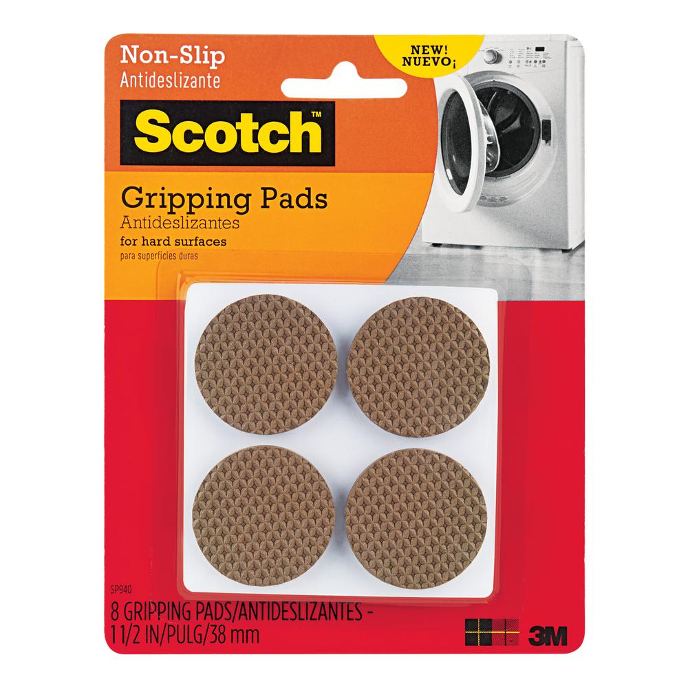 3M Scotch 1 5 in  Brown Round Hard Surface Gripping Pads (8-Pack)
