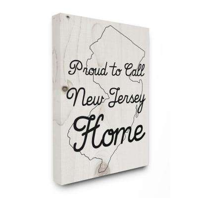 "30 in. x 40 in. ""Wood Texture Proud to Call New Jersey Home"" by Daphne Polselli Canvas Wall Art"