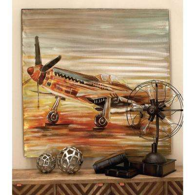 47 in. x 47 in. Vintage Propeller Airplane Painted Framed Canvas Wall Art