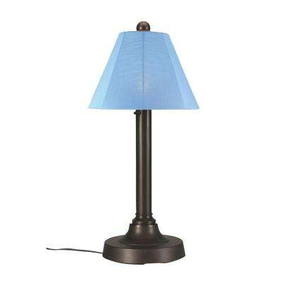 San Juan 30 in. Bronze OutdoorTable Lamp with Sky Blue Shade