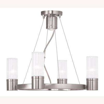 Midtown 5-Light Brushed Nickel Chandelier with Hand Crafted Clear Fluted Glass Shade