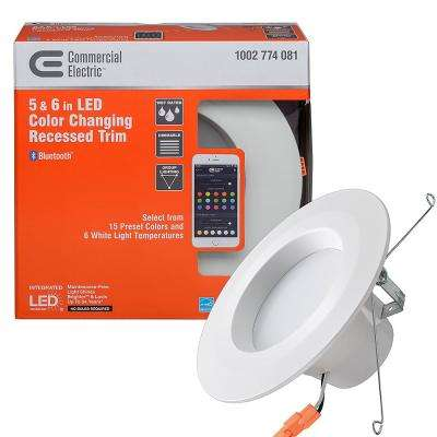 Bluetooth 5 in./6 in. 65-Watt Equivalent Integrated LED Recessed Downlight Trim 21 Color Options 670 Lumens