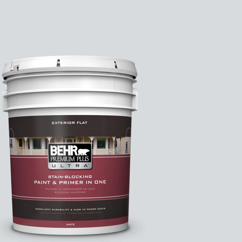 BEHR Premium Plus Ultra 5-gal. #PPL-65 Silver Charm Flat Exterior Paint