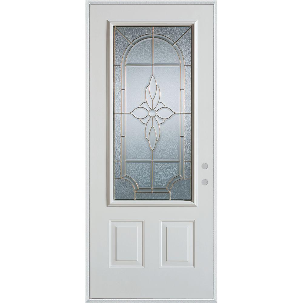 Stanley Doors 37.375 in. x 82.375 in. Traditional Brass 3/4 Lite 2-Panel Prefinished White Left-Hand Inswing Steel Prehung Front Door