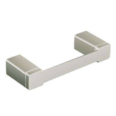 90 Degree Pivoting Double Post Toilet Paper Holder in Brushed Nickel