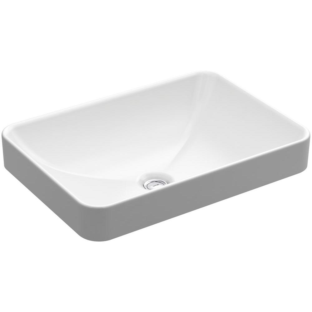 Vox Rectangle Vitreous China Vessel Sink In White With Overflow Drain