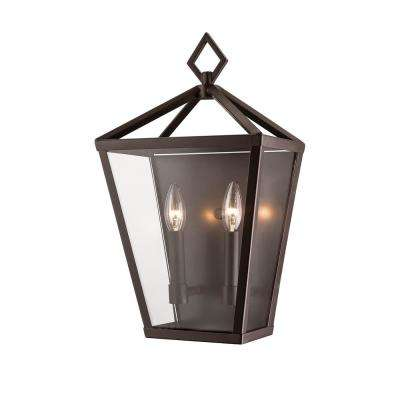2-Light 18 in. Tall Powder Coated Bronze Outdoor Wall Sconce