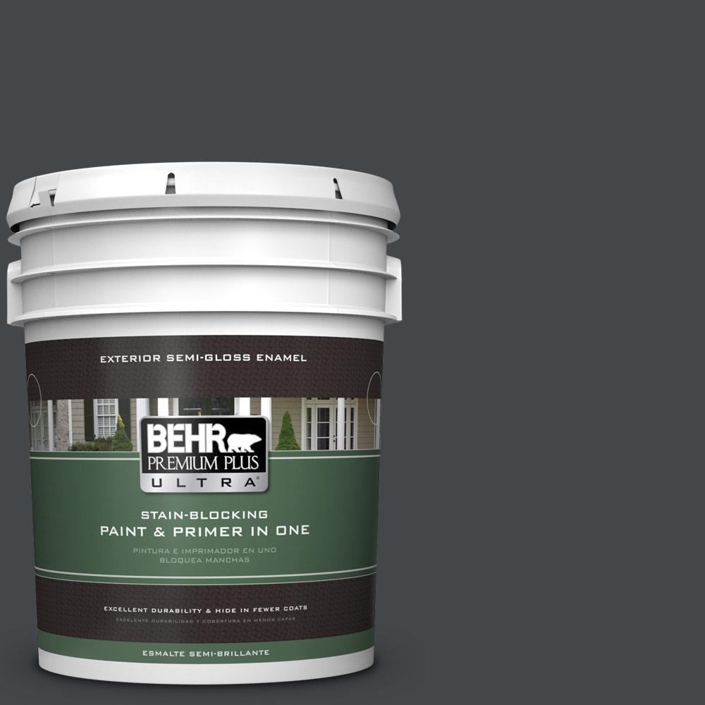 BEHR Premium Plus Ultra 5 gal. #PPU24-23 Little Black Dress Semi-Gloss Enamel Exterior Paint, Blacks