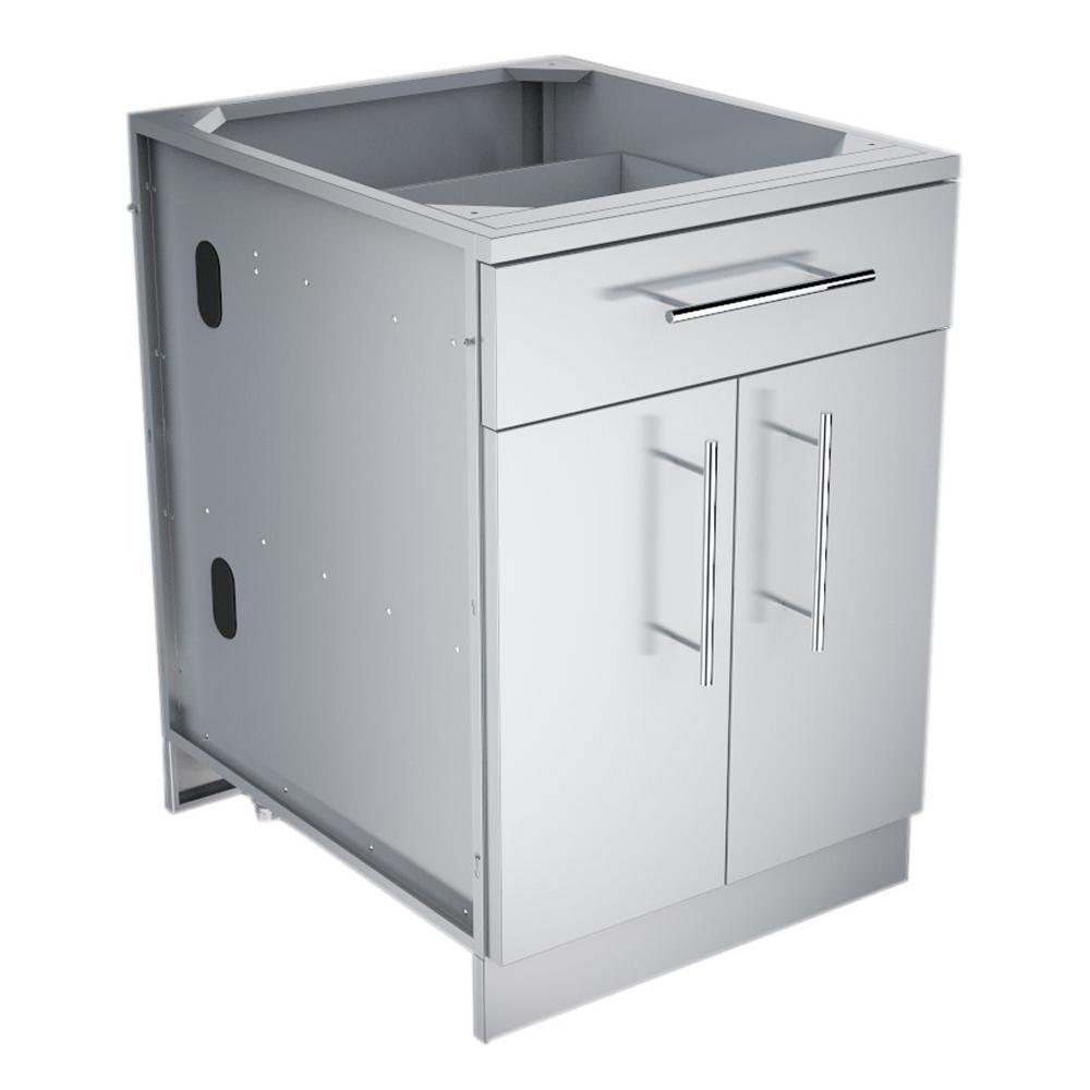 Designer Series 304 Stainless Steel 24 in. x 34.5 in. x 28.25 in. Double Door Base Cabinet with Shelf, False Top Panel