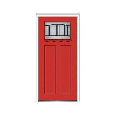 32 in. x 80 in. Madison Right-Hand 1-Lite Decorative Craftsman Painted Fiberglass Smooth Prehung Front Door w/ Shelf