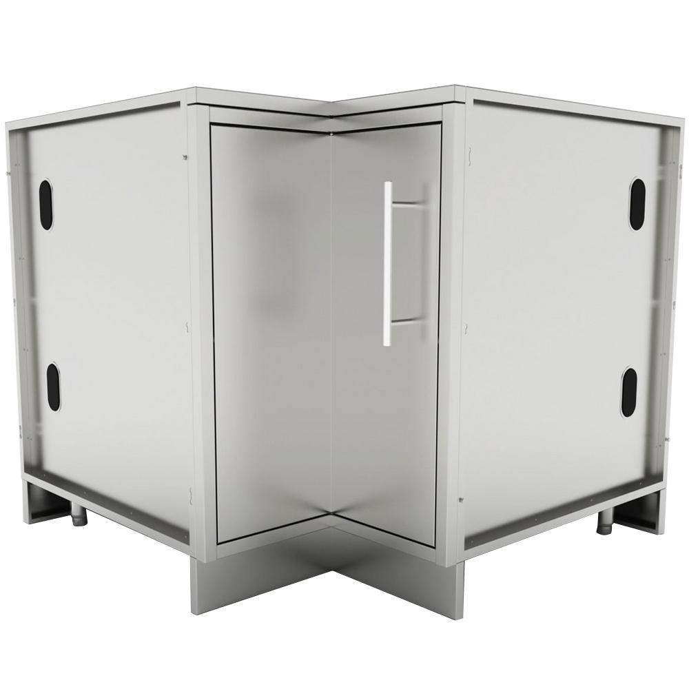 Designer Series 304 Stainless Steel 24 in. x 34.5 in. x 28.25 in. Full-Depth Corner Cabinet with Swivel Shelves