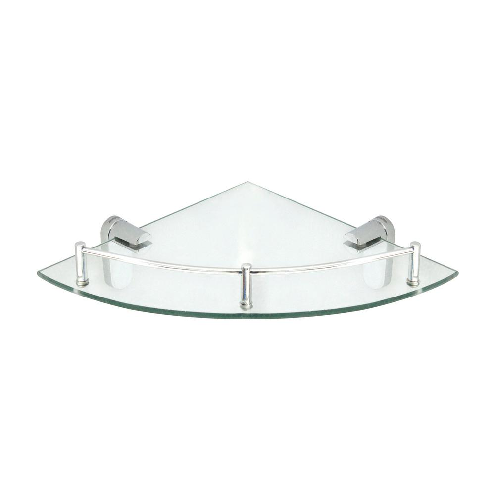 Oval 10.5 in. x 10.5 in. Glass Corner Shelf with Pre-Installed