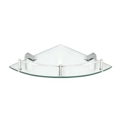 Oval 10.5 in. x 10.5 in. Glass Corner Shelf with Pre-Installed Rail in Polished Chrome