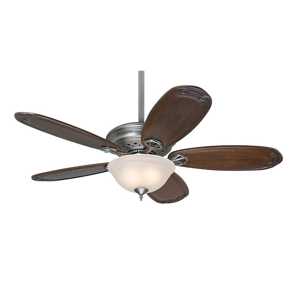 Hunter Teague 54 in. Indoor Antique Pewter Ceiling Fan wi...