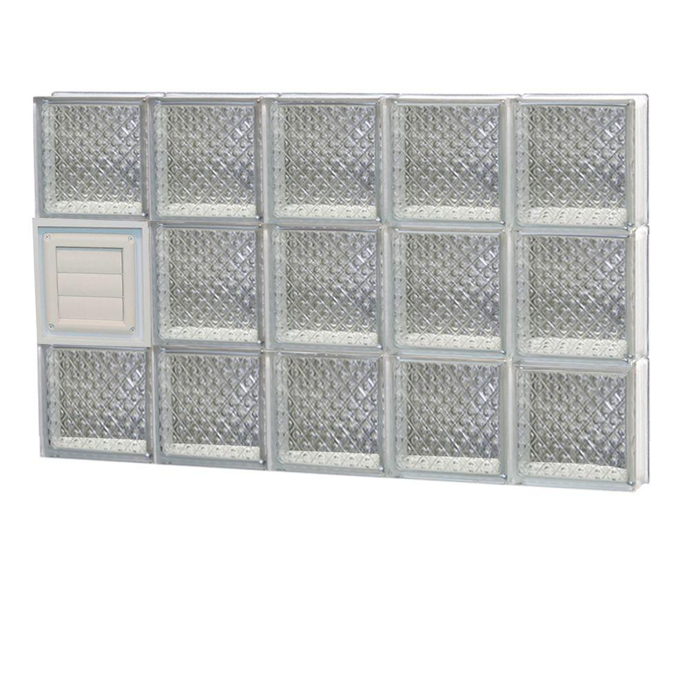Clearly Secure 28.75 in. x 17.25 in. x 3.125 in. Frameless Diamond Pattern Glass Block Window with Dryer Vent